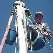 John up the mast in Stromness
